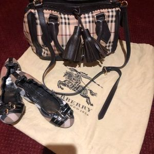 Burberry bag and Burberry slip on shoes